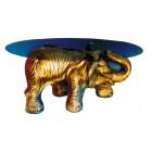 Glastisch mit Elefant (gold)