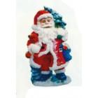 Weihnachtsmann mit Spielzeug und Tannenbaum klein