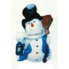 Schneemann mit Laterne und Besen