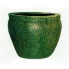 grünes Pflanzgefäß antik mit Weinmusterung