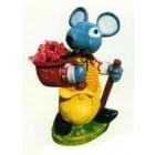 Maus als Wanderer mit bepflanzbarem Sack und Stock