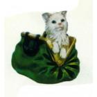 Katze in grüner Handtasche klein
