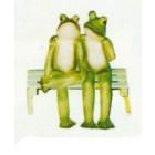 Froschpaar sitzend auf Bank mittel