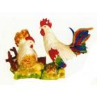 SET Huhn mit Hahn auf Wiese bunt