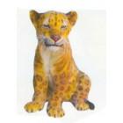 kleiner sitzender Leopard