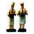 Dick und Doof als Bäcker mit Tablett