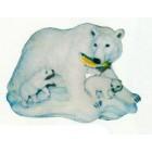 Eisbärfamilie mit Fisch im Mund klein