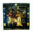 schwarze ägyptische Wandtafel mit goldener Bemalung