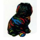 schwarzer Hund mit bunten Streifen sitzend