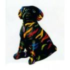 sitzender Schwarzer Hund mit bunten Streifen