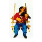 Clown auf Schaukel mit Geige