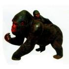 laufender Gorilla mit Kind dunkelbraun