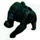 laufender Gorilla mit Kind schwarz