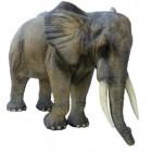 lebensgroßer Elefant mit Rüssel unten