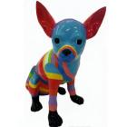 Hund Chihuahua sitzend bunt gestreift