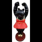Nilpfer schwarz als Ballett Tänzerin mit rotem Kleid